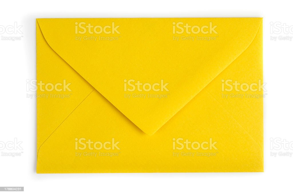 Yellow envelope (Clipping path) royalty-free stock photo