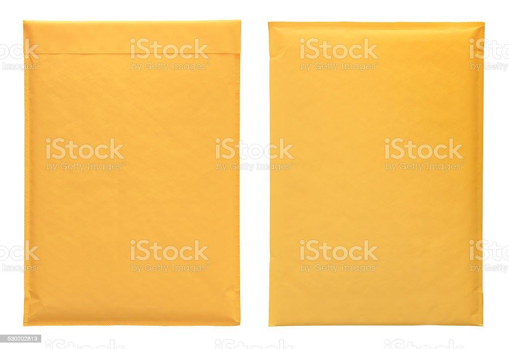 Yellow envelopes stock photo