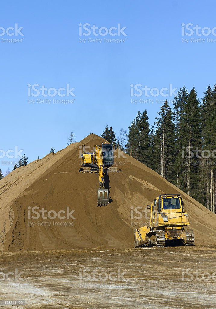 Yellow Excavator and bulldozer at Work in forest royalty-free stock photo