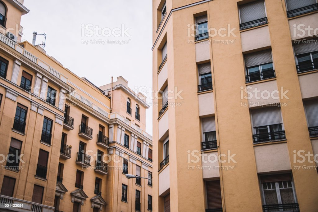 Yellow facades stock photo