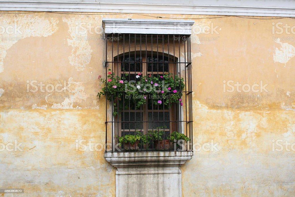 Желтые выцветшие стена с испанский колониальный период Стоковые фото Стоковая фотография