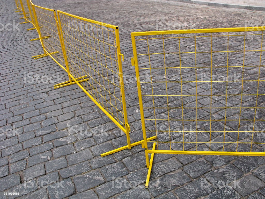 Yellow fence stock photo