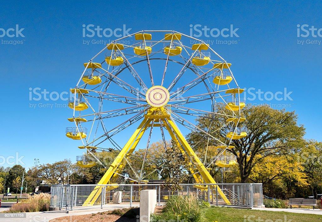 Yellow Ferris Wheel at PotashCorp Playland at Kinsmen Park Saskatoon stock photo