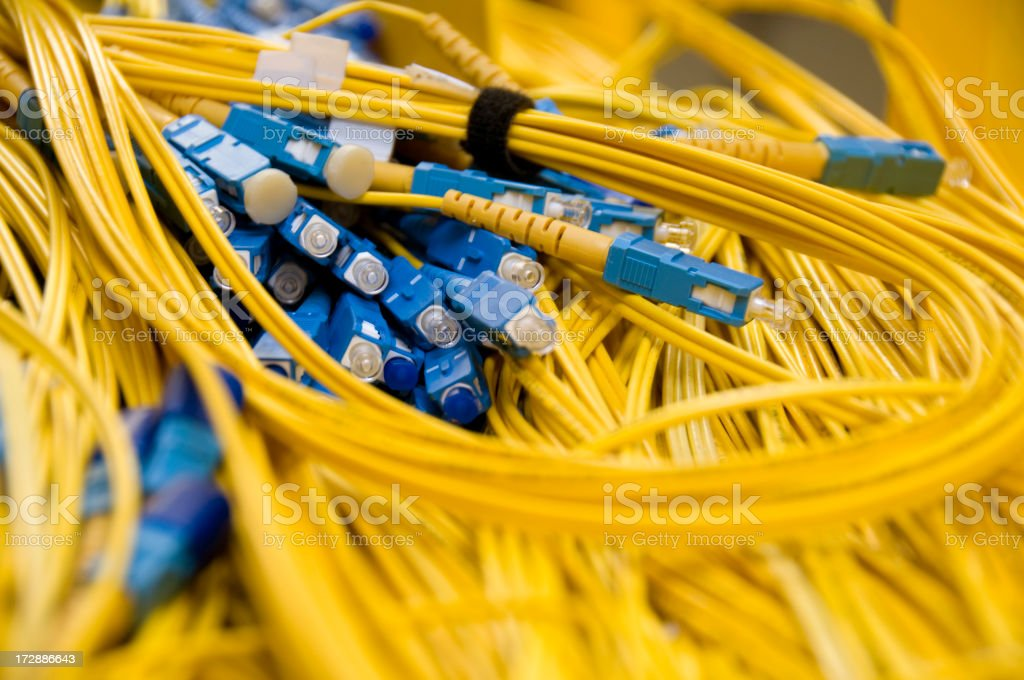 Yellow fiber optics cable royalty-free stock photo