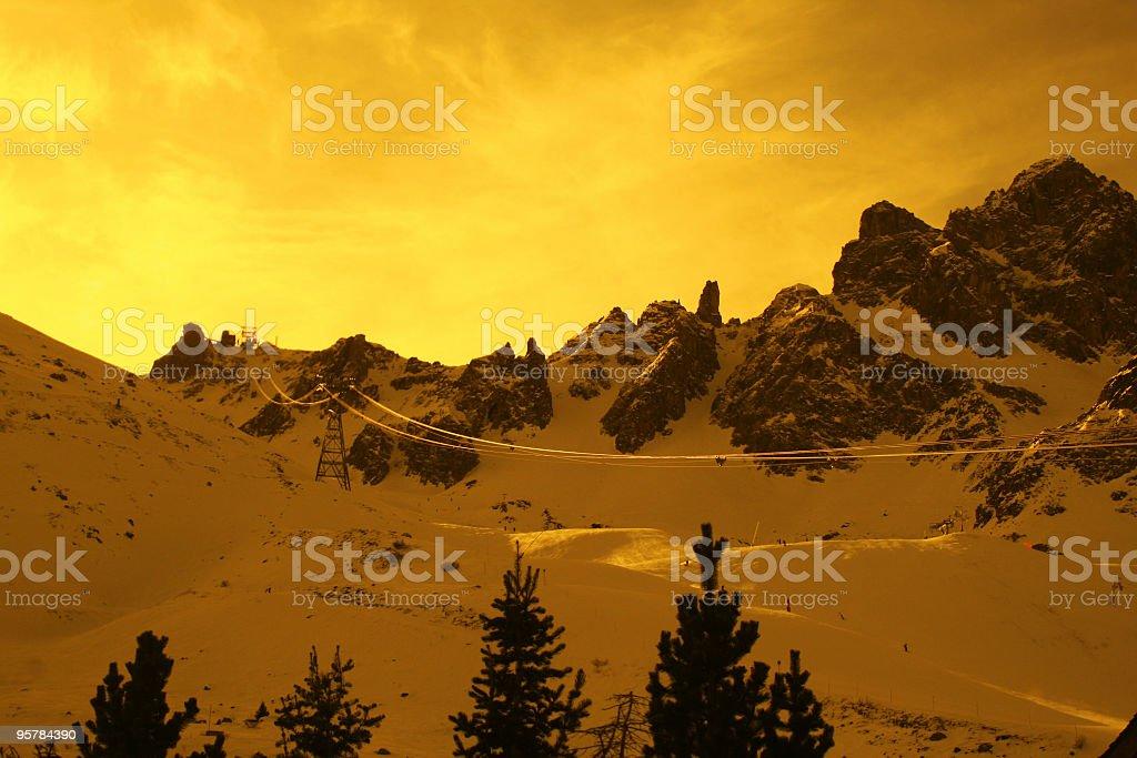 Yellow filter mountainscape royalty-free stock photo
