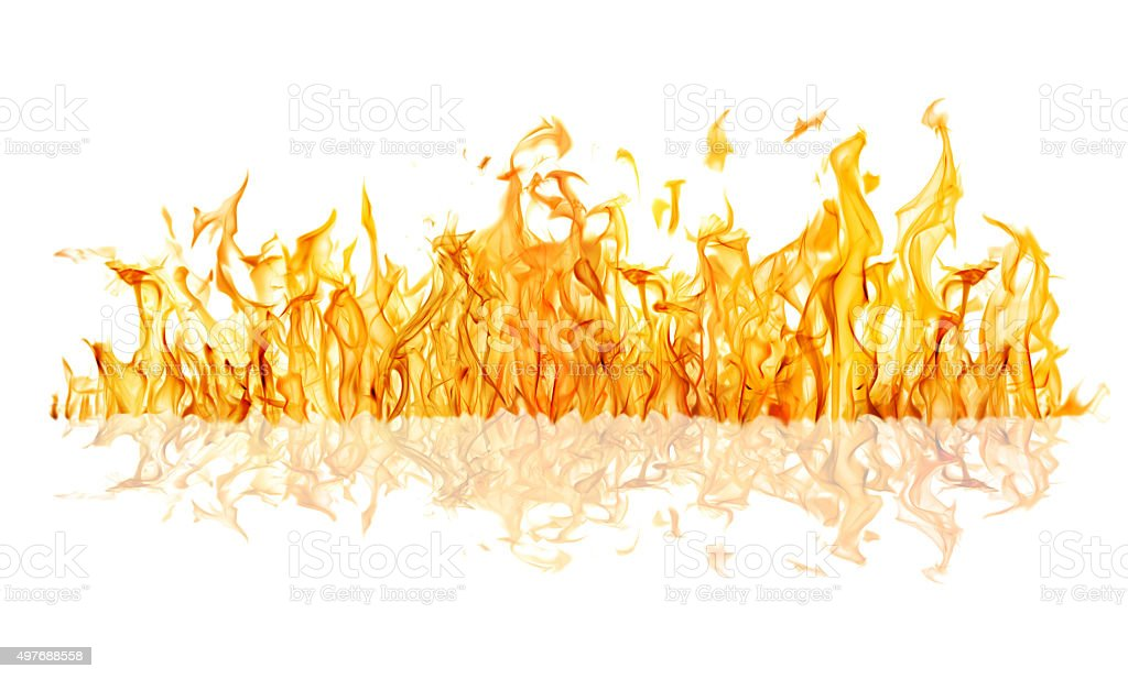 yellow fire long strip with reflection isolated on white stock photo