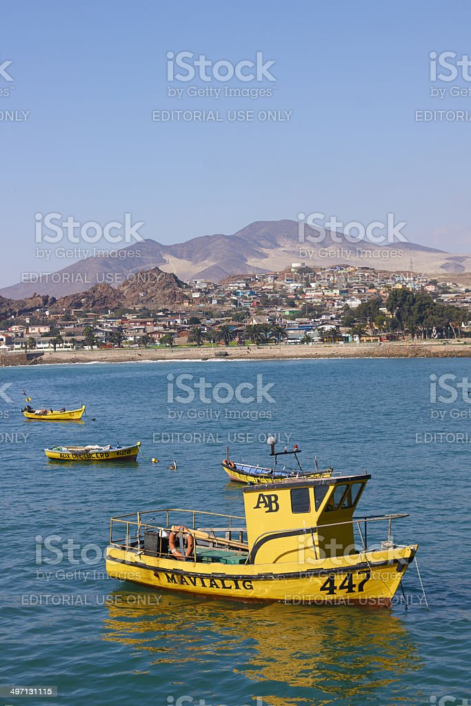 Yellow Fishing Boats royalty-free stock photo