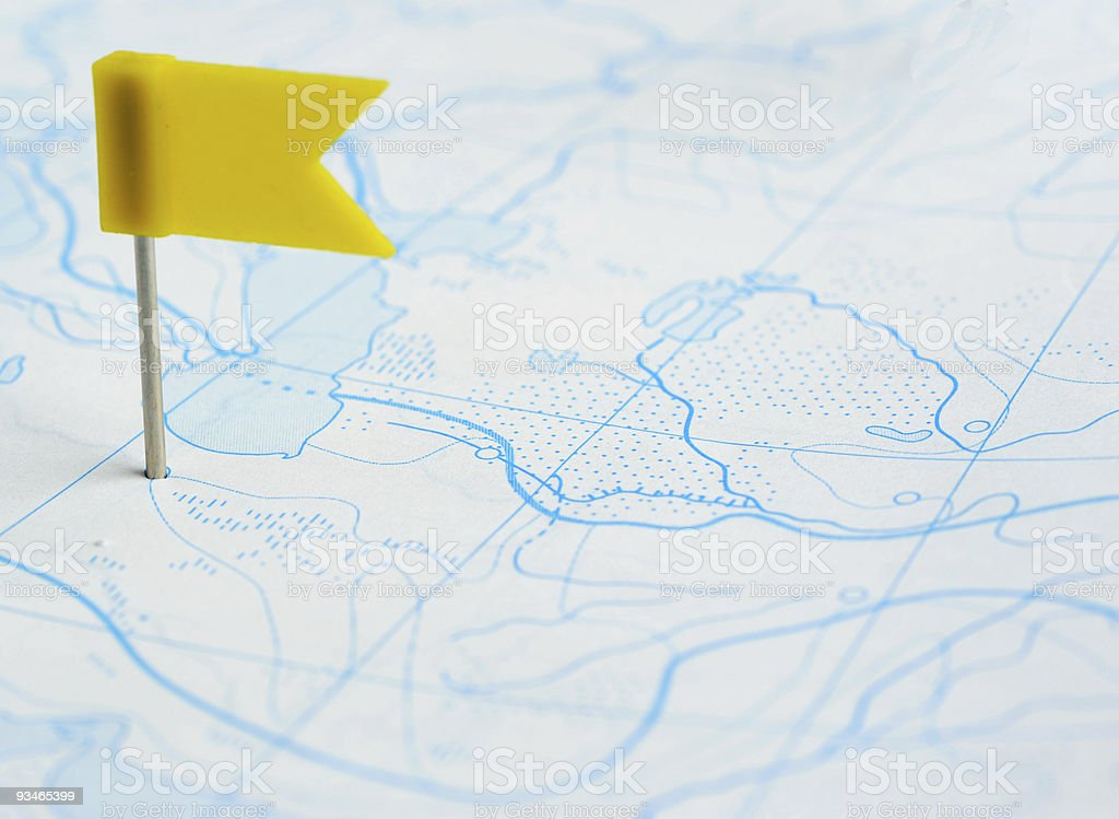 yellow flag a pin on map royalty-free stock photo