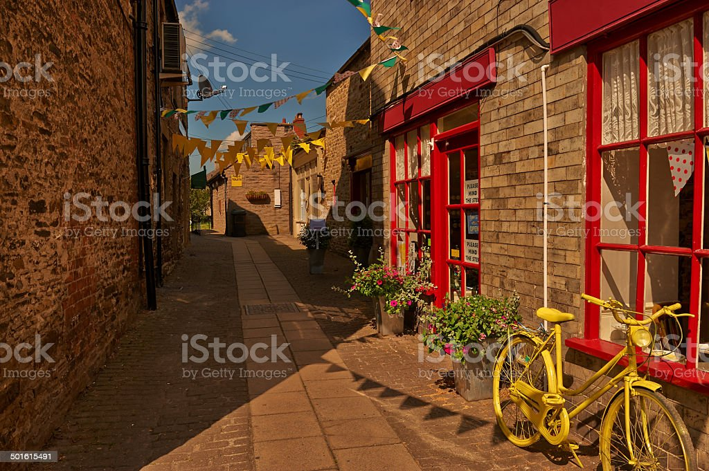 Yellow Flag Alleyway. stock photo