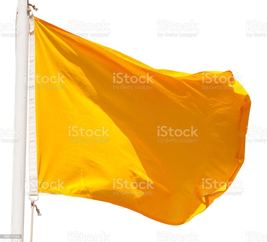 yellow flag isolated stock photo
