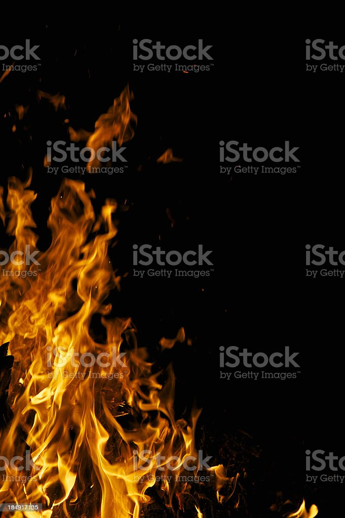 Yellow Flames Fire Campfire Background with Black Copy Space stock photo
