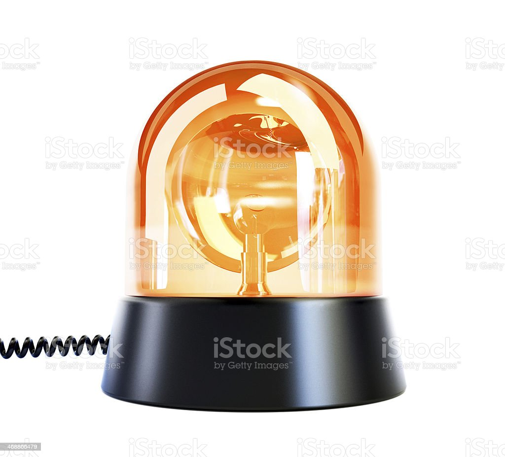 yellow flashing light on a white background stock photo
