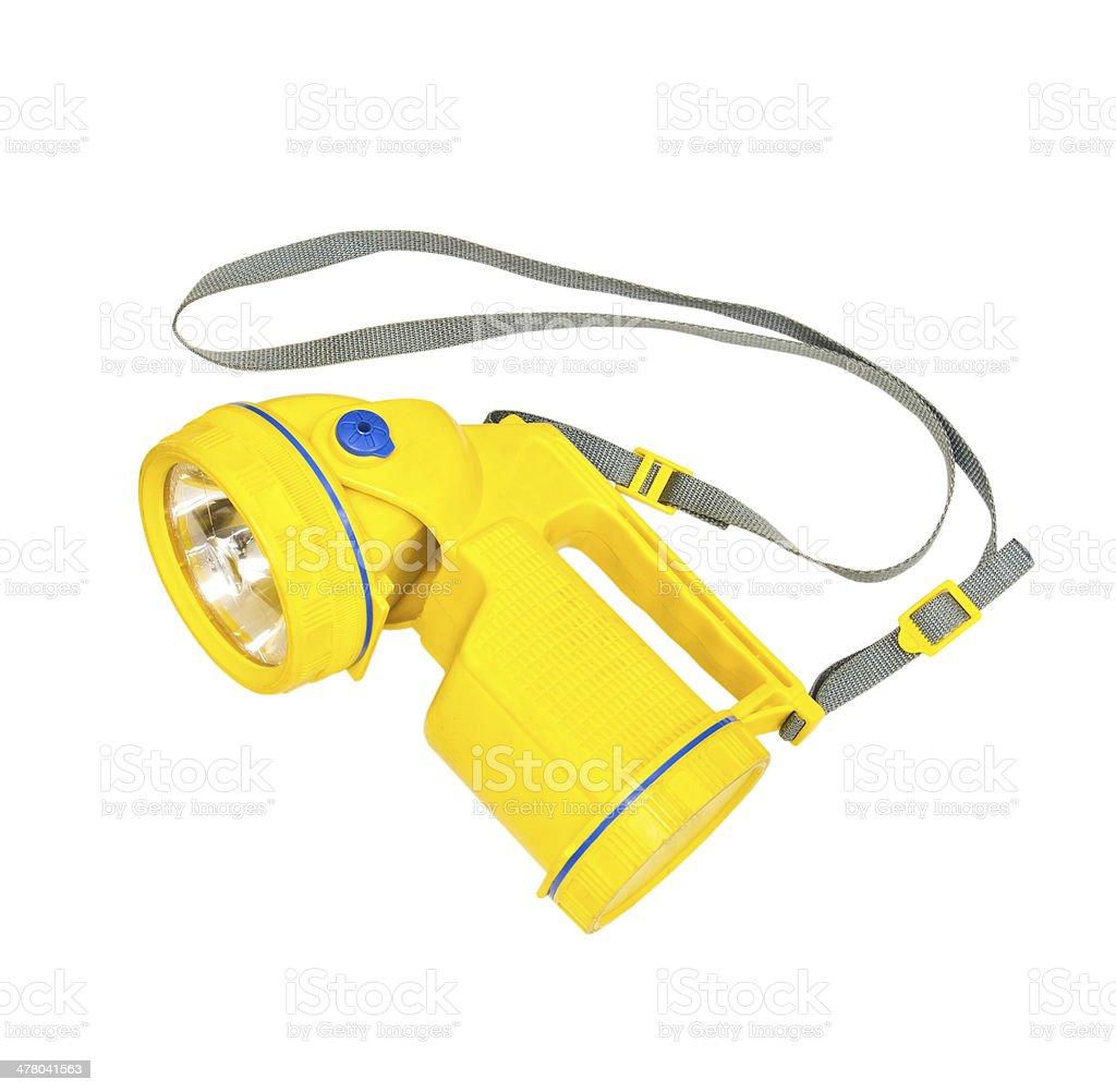 Yellow flashlight isolate on white background royalty-free stock photo