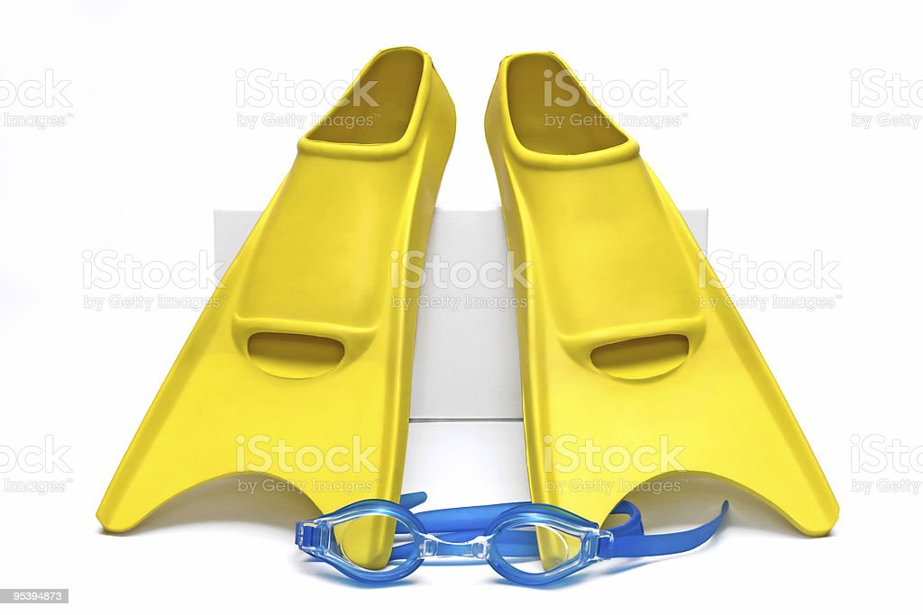 Yellow flippers isolated on white background royalty-free stock photo