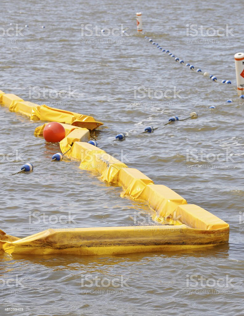 Yellow Floating Turbidity Barriers stock photo