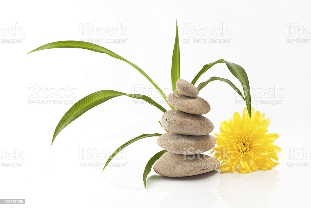 Yellow flower and zen stones royalty-free stock photo