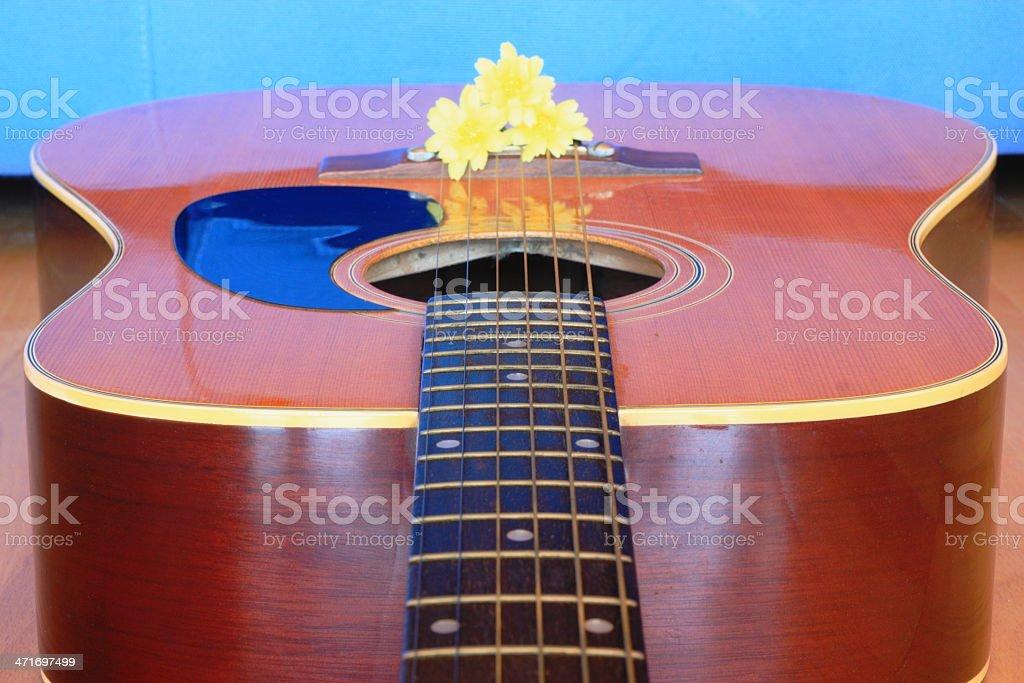 Yellow flower & guitar royalty-free stock photo