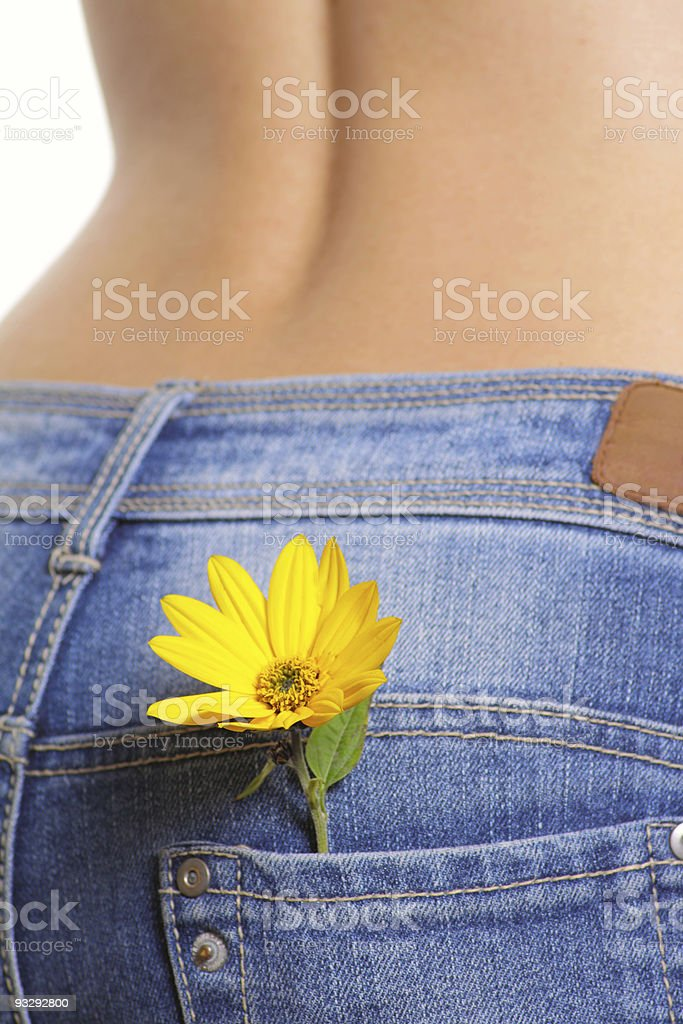 Yellow flower in a pocket female jeans royalty-free stock photo