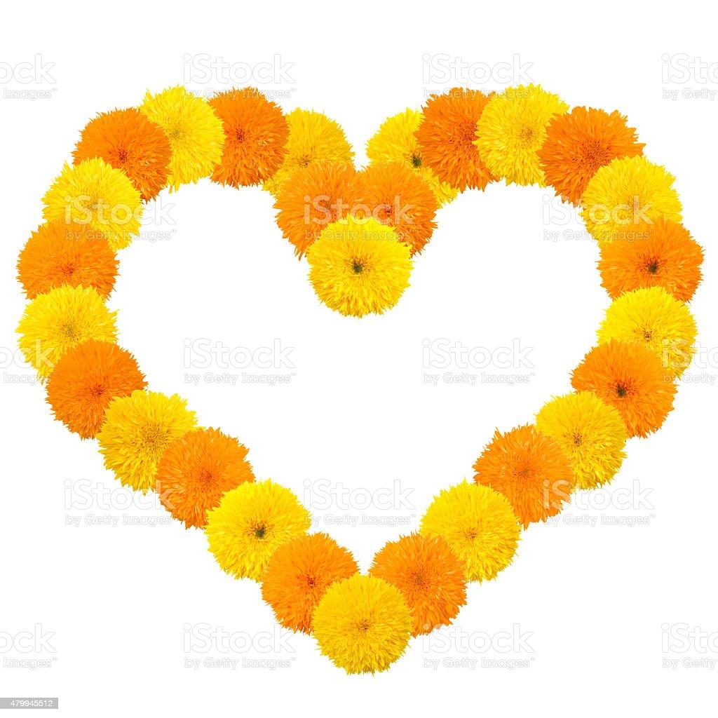 Yellow flowery heart on white stock photo