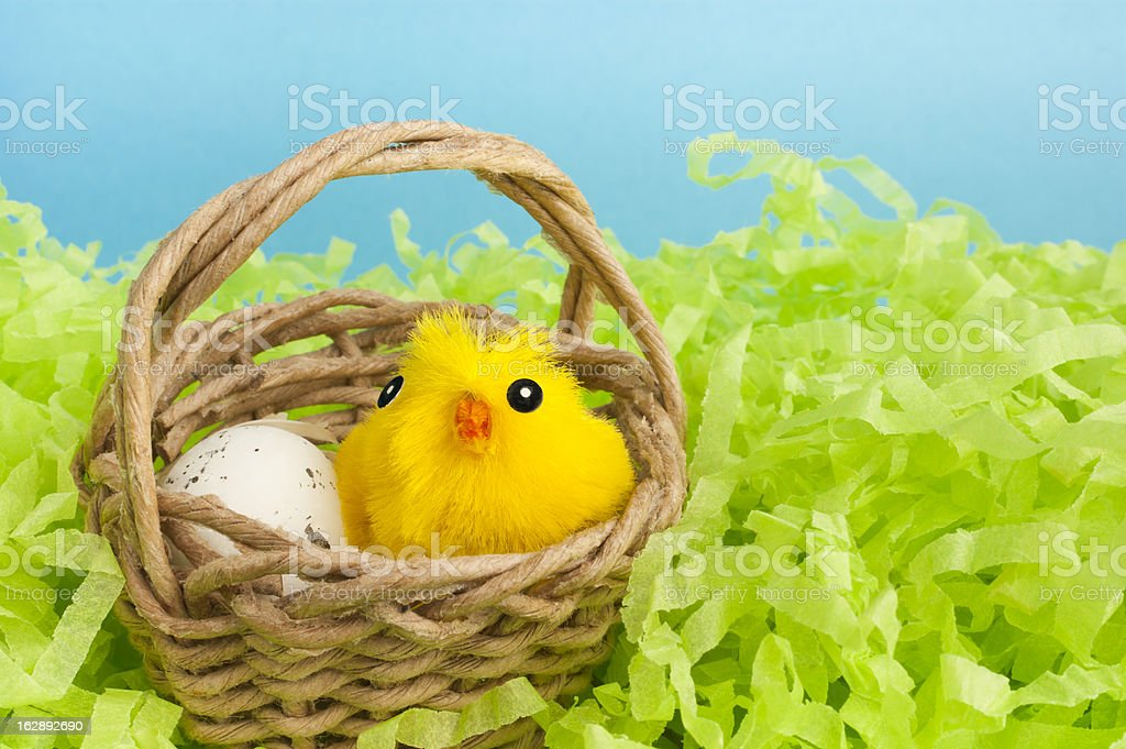 Yellow fluffy Easter chicken toy. royalty-free stock photo