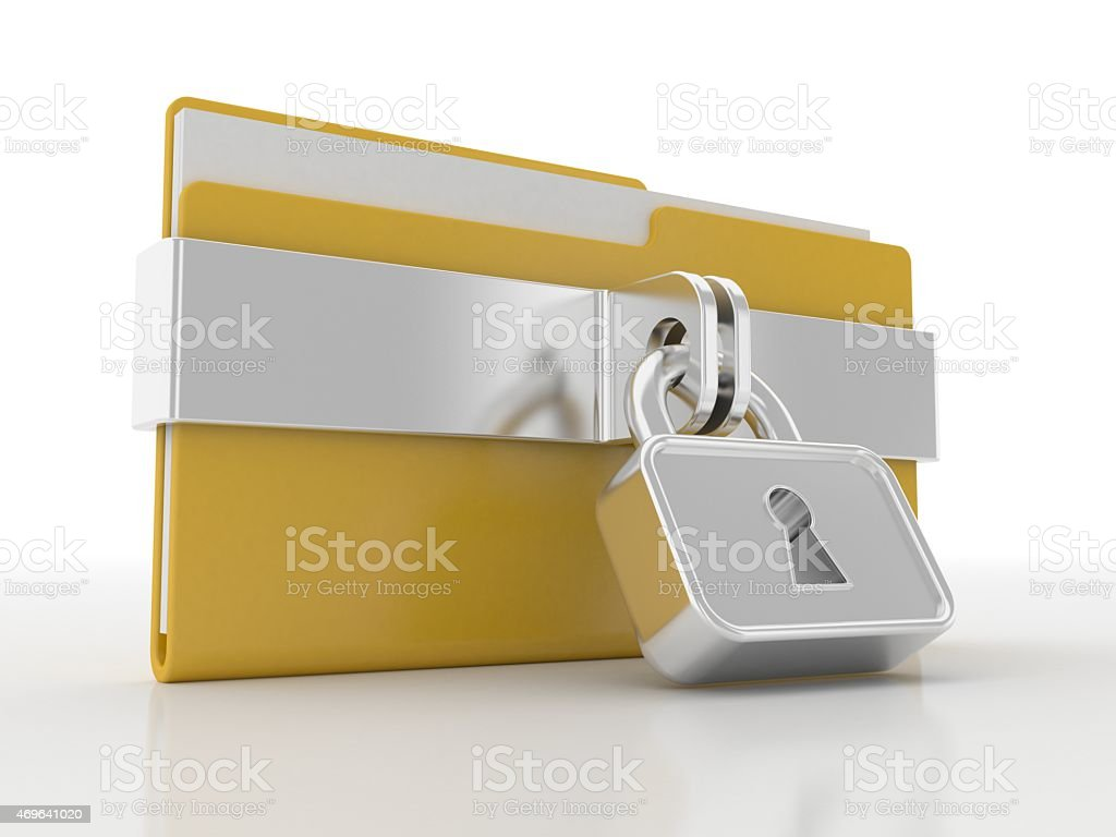 Yellow folder and lock and Data Security Concept stock photo
