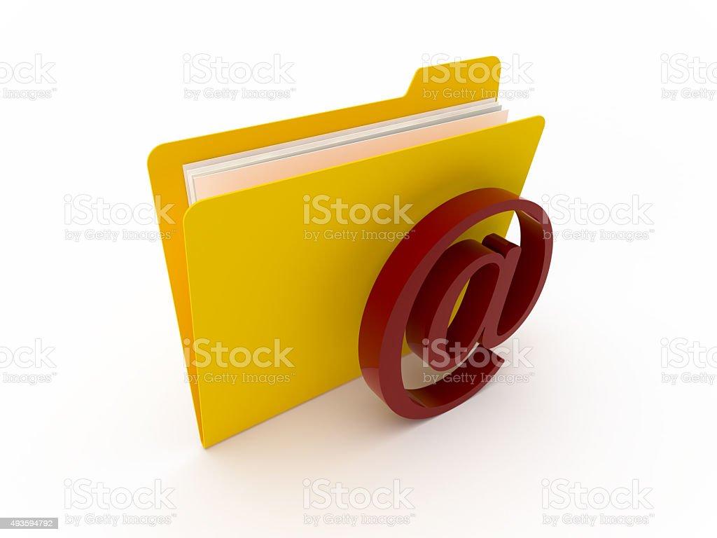 Yellow Folder With Mail Symbol stock photo