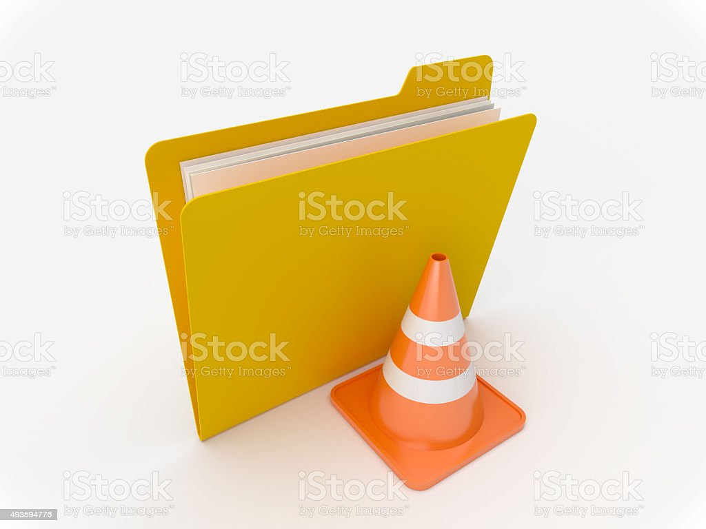 Yellow Folder With Traffic Cone stock photo