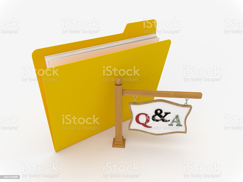 Yellow Folder With Wooden Signpost for Question and Answer stock photo