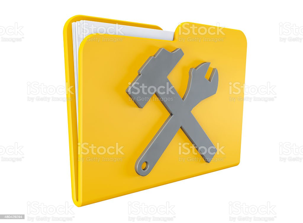Yellow folder with wrench and hammer stock photo