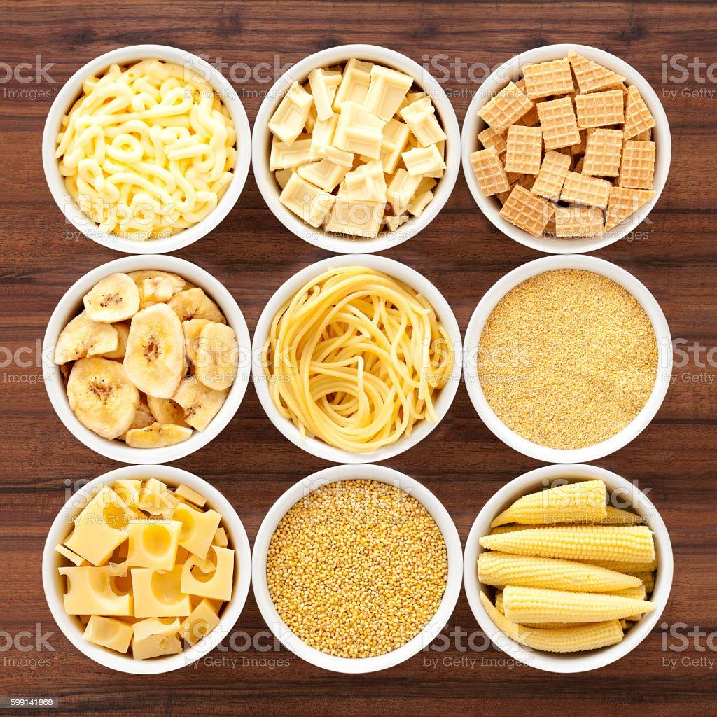 Yellow foods stock photo