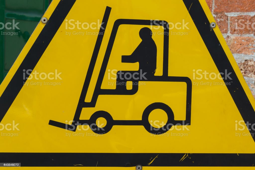 Yellow Fork Lift Truck Operating Warning Sign, Transportation Concept stock photo