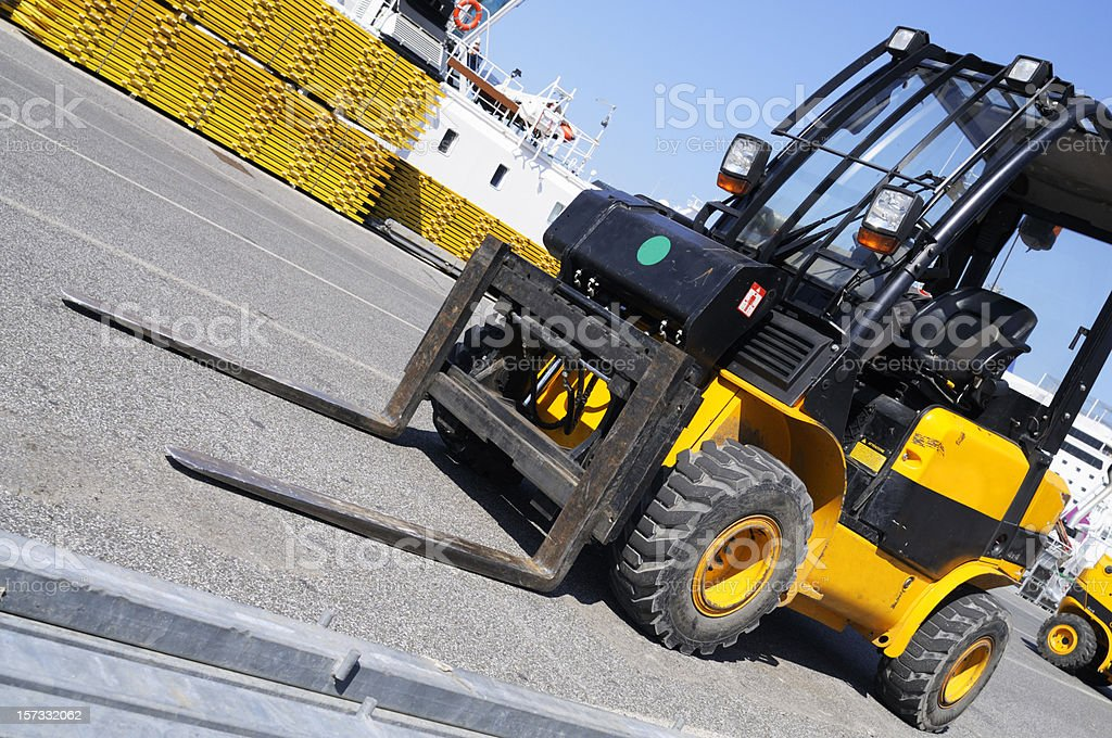 Yellow Forklift inside the Harbor royalty-free stock photo