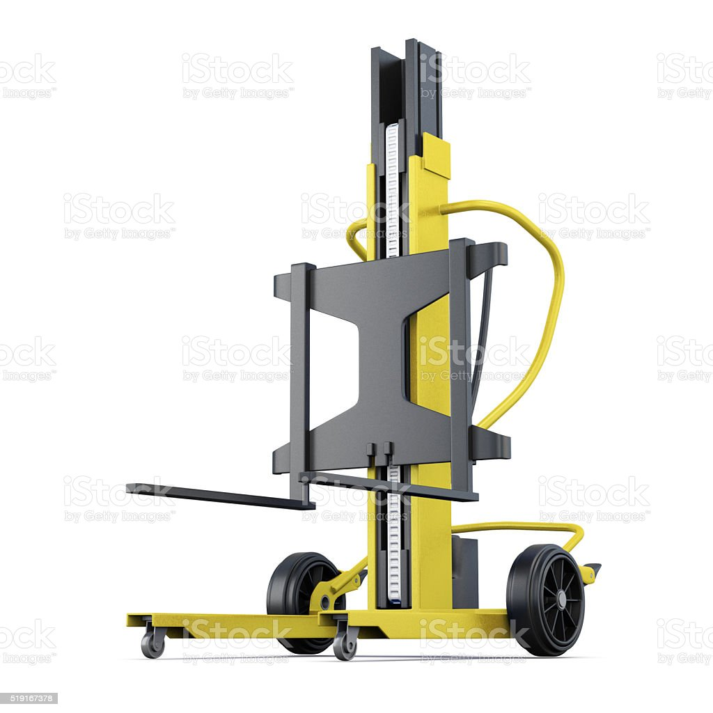 Yellow forklift on a white background. 3d rendering stock photo