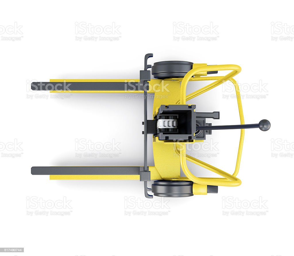 Yellow forklift on a white background. Top view. 3d illustration stock photo