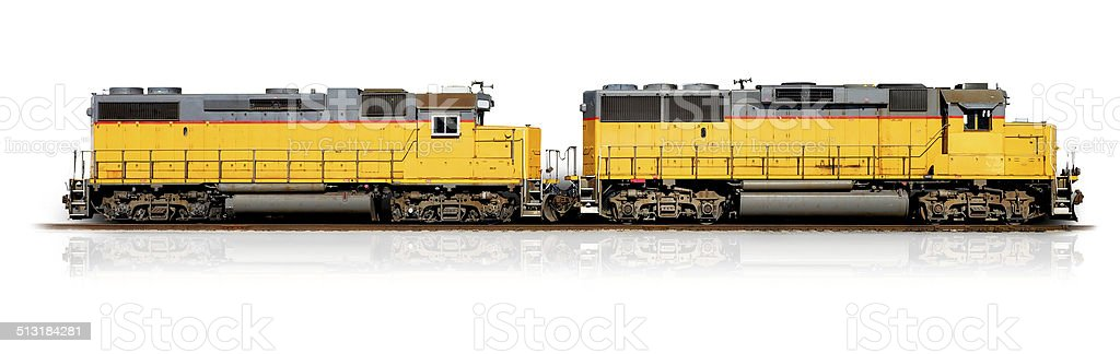 Yellow freight train (Clipping path) stock photo