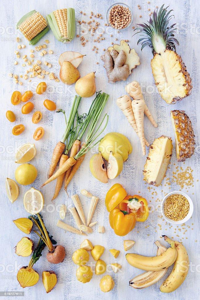 Yellow fresh produce fruits vegetables stock photo