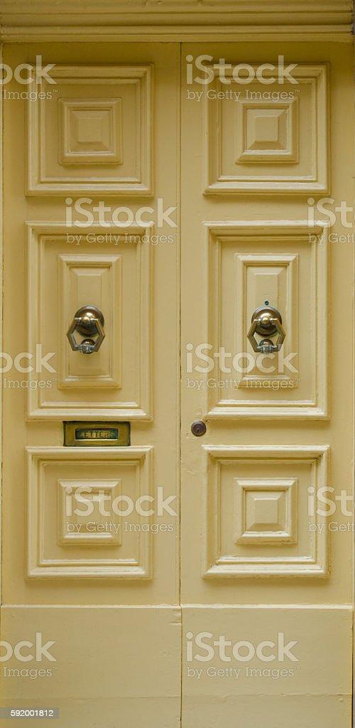 Yellow front door stock photo