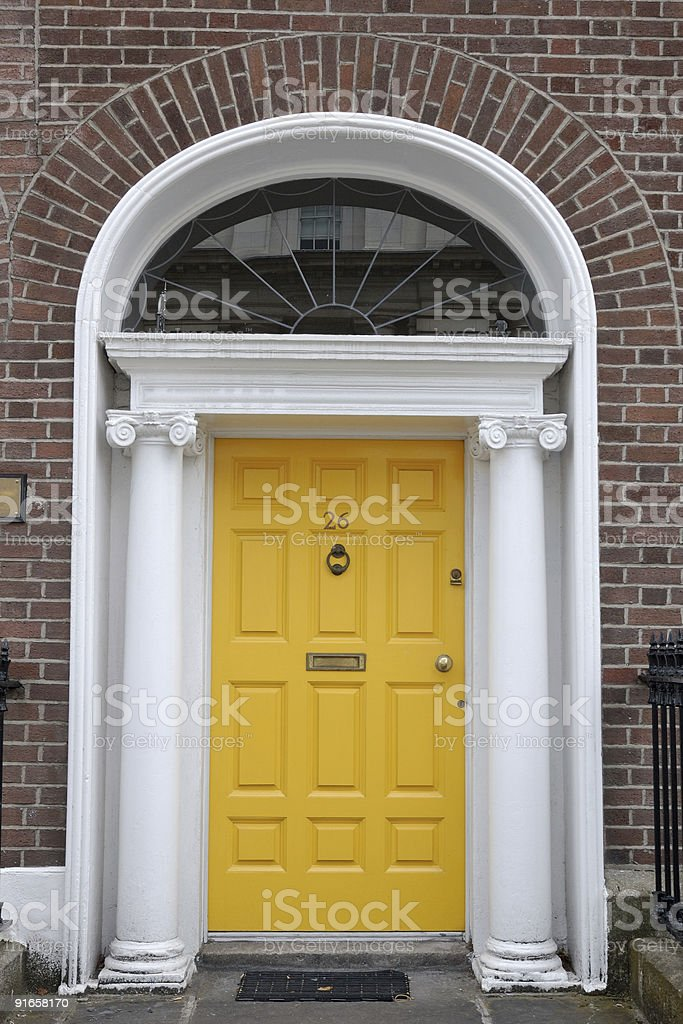 Yellow front door royalty-free stock photo