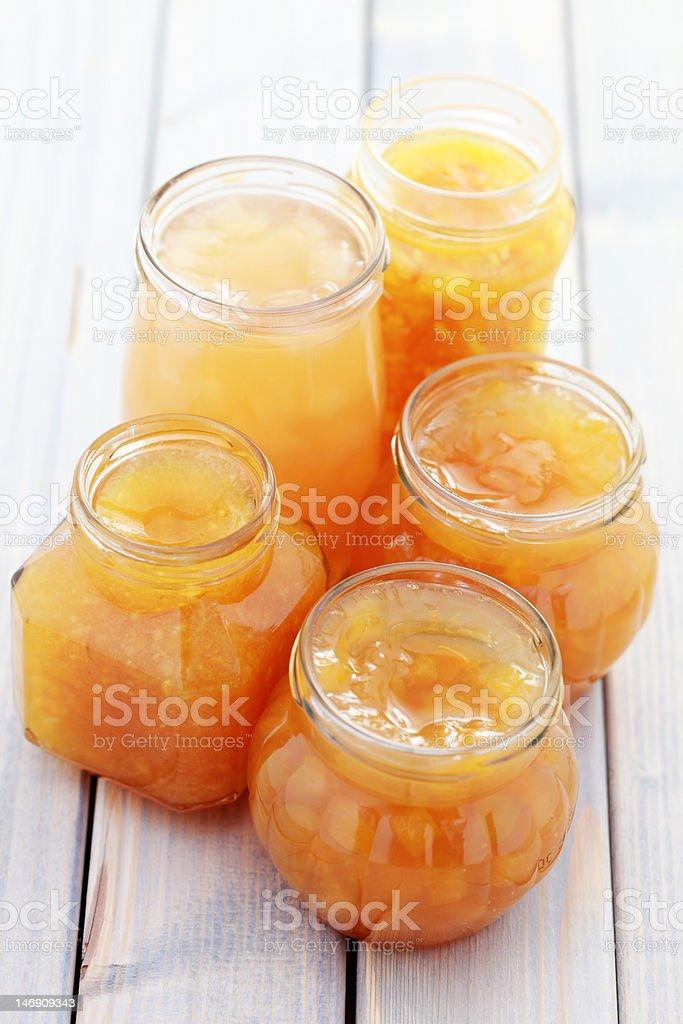 yellow fruits jam stock photo