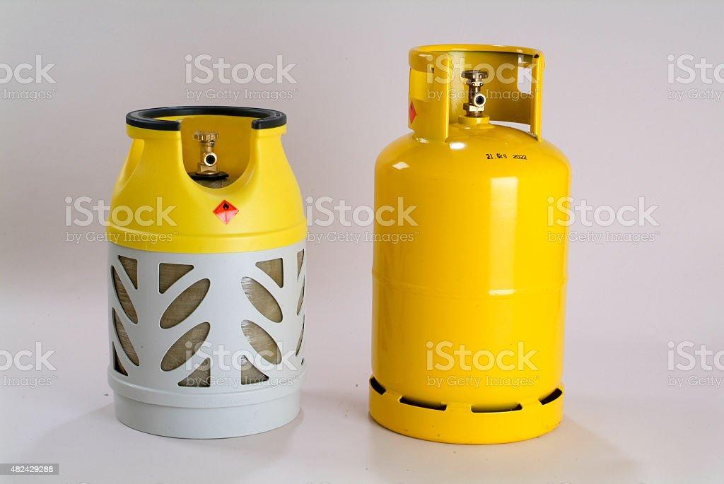 Yellow gas bottle stock photo