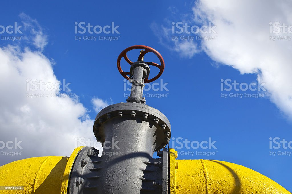 Yellow gas pipe royalty-free stock photo