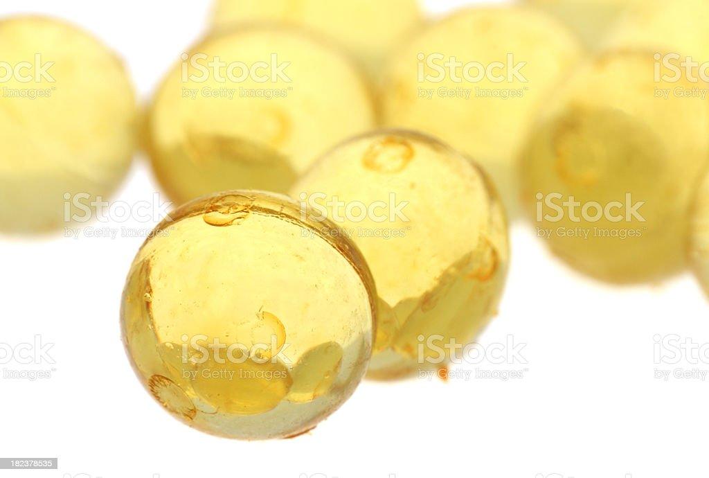 Yellow gel pills stock photo