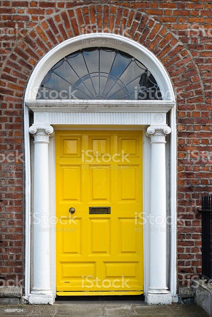 Yellow Georgian Door stock photo