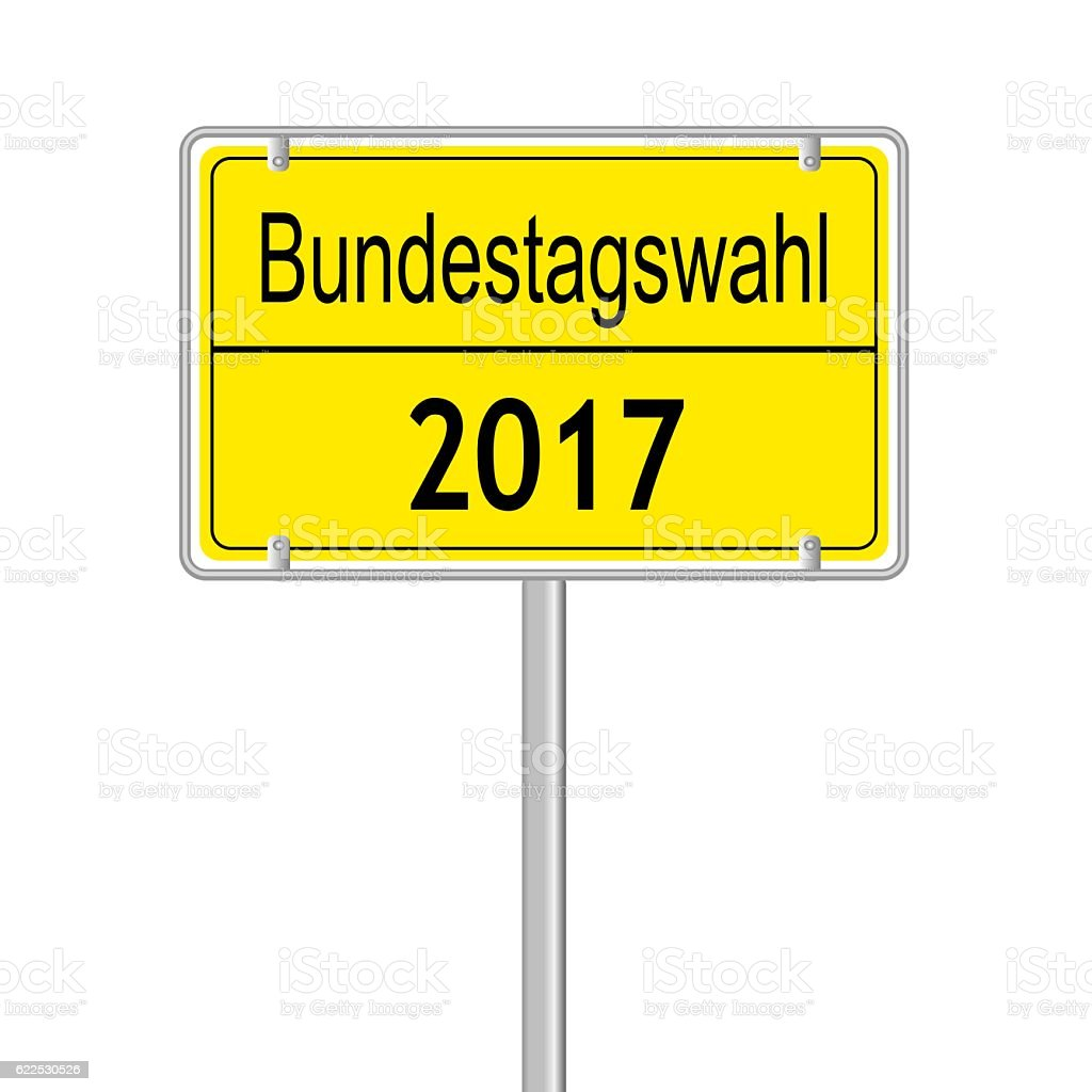 yellow germany election sign isolated stock photo