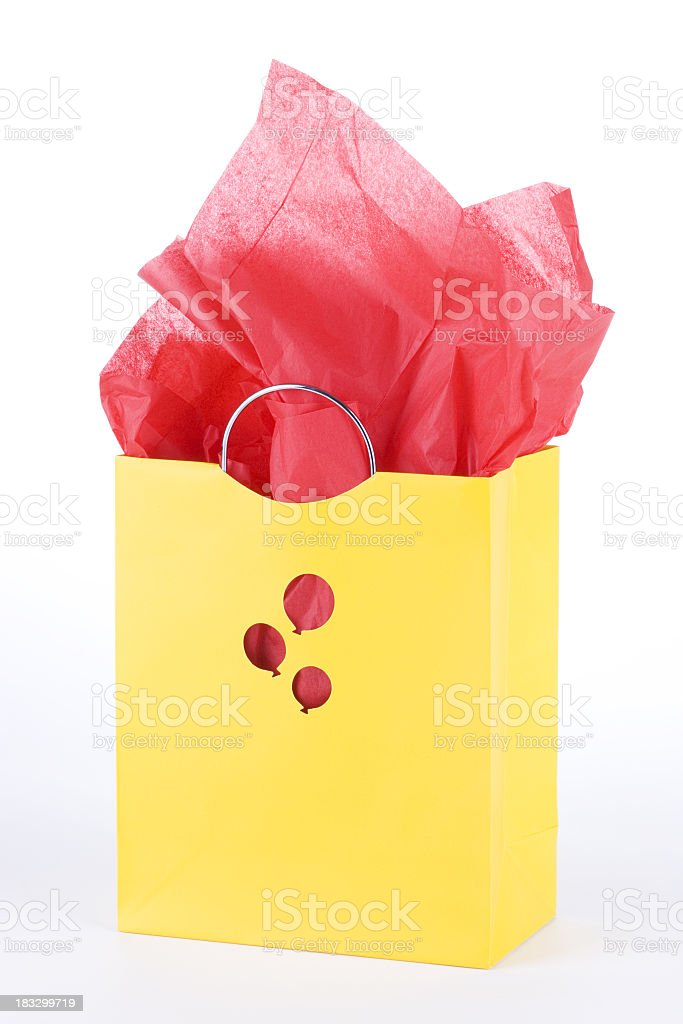 Yellow Gift Bag royalty-free stock photo