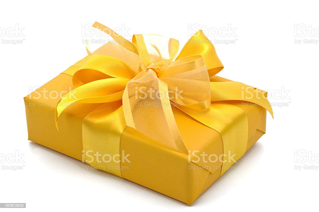 yellow gift box royalty-free stock photo