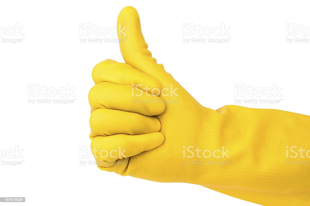 yellow glove isolated on white background:Cleaning's is perfect ! royalty-free stock photo