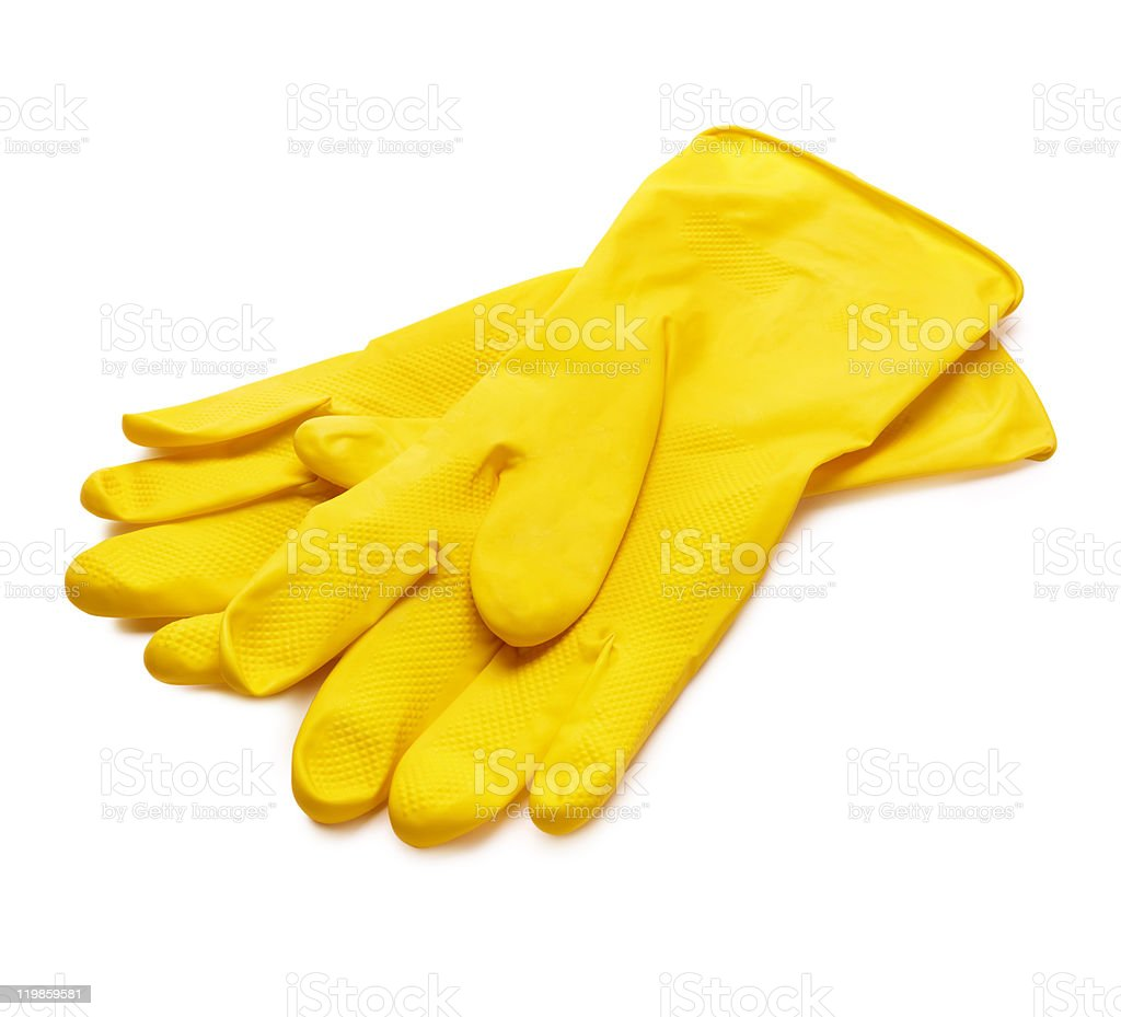 Yellow gloves stock photo
