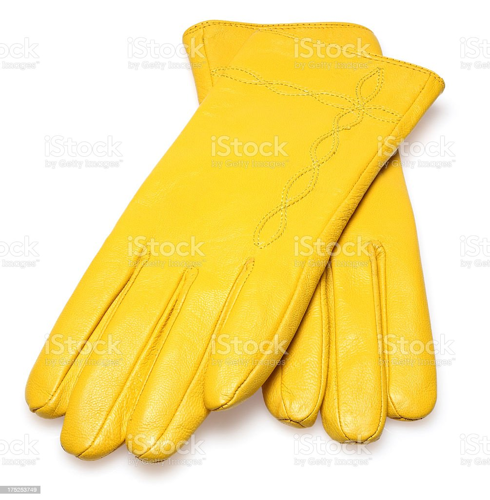yellow gloves royalty-free stock photo