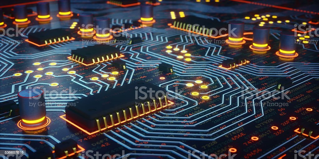 Yellow Glowing Circuit Board Close-Up stock photo